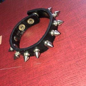 Black leather stud bracelet